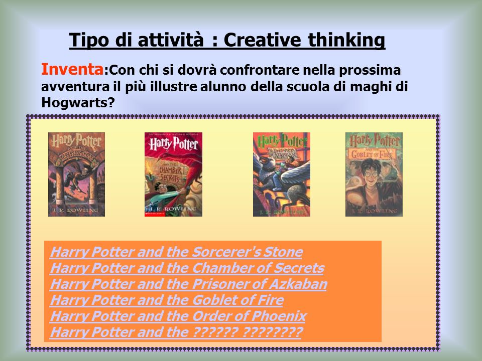 Tipo di attività : Creative thinking