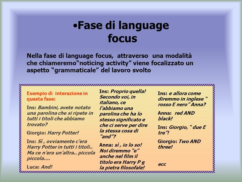 Fase di language focus