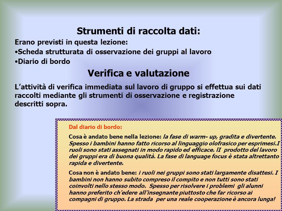 Strumenti di raccolta dati: Verifica e valutazione
