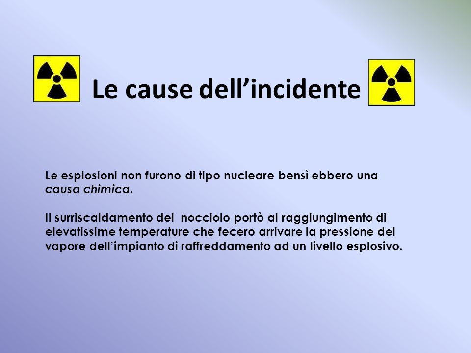 Le cause dell'incidente