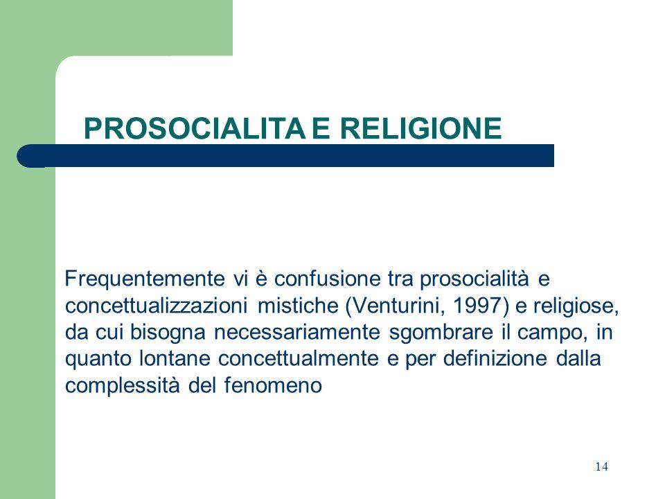 PROSOCIALITA E RELIGIONE