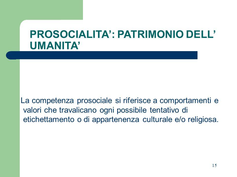 PROSOCIALITA': PATRIMONIO DELL' UMANITA'
