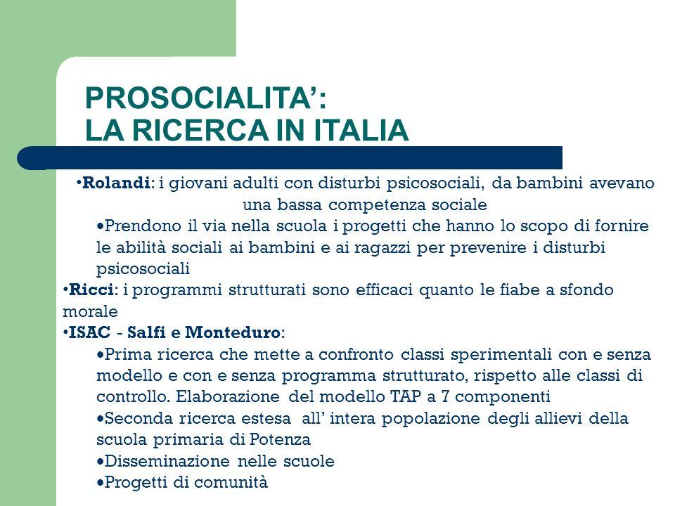 PROSOCIALITA': LA RICERCA IN ITALIA