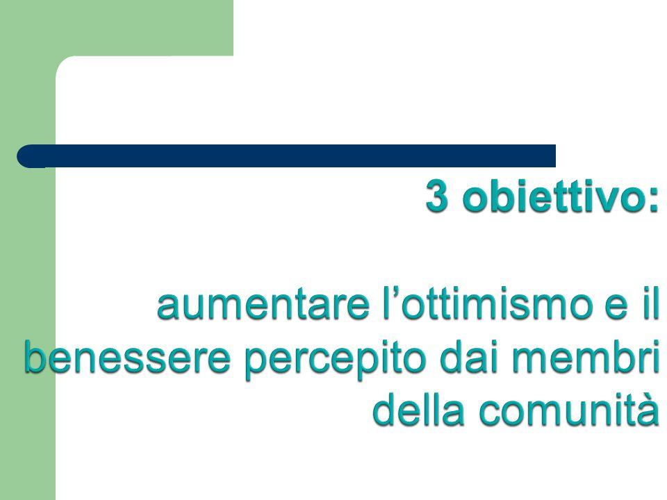 3 obiettivo: aumentare l'ottimismo e il benessere percepito dai membri della comunità