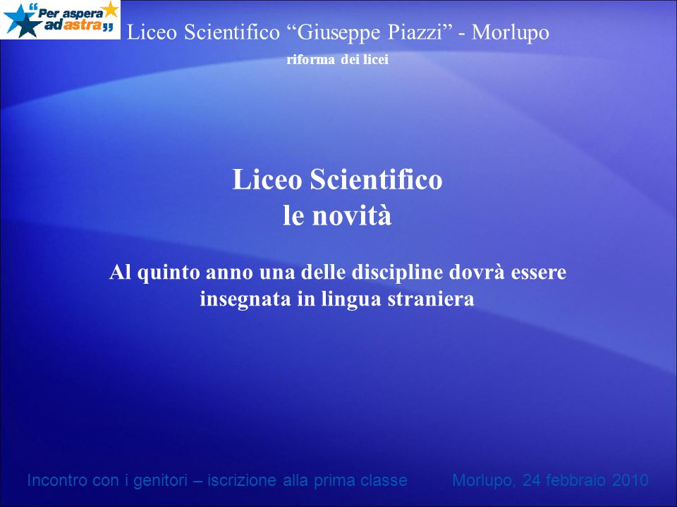 Liceo Scientifico le novità
