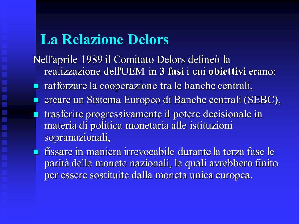 La Relazione Delors Nell aprile 1989 il Comitato Delors delineò la realizzazione dell UEM in 3 fasi i cui obiettivi erano: