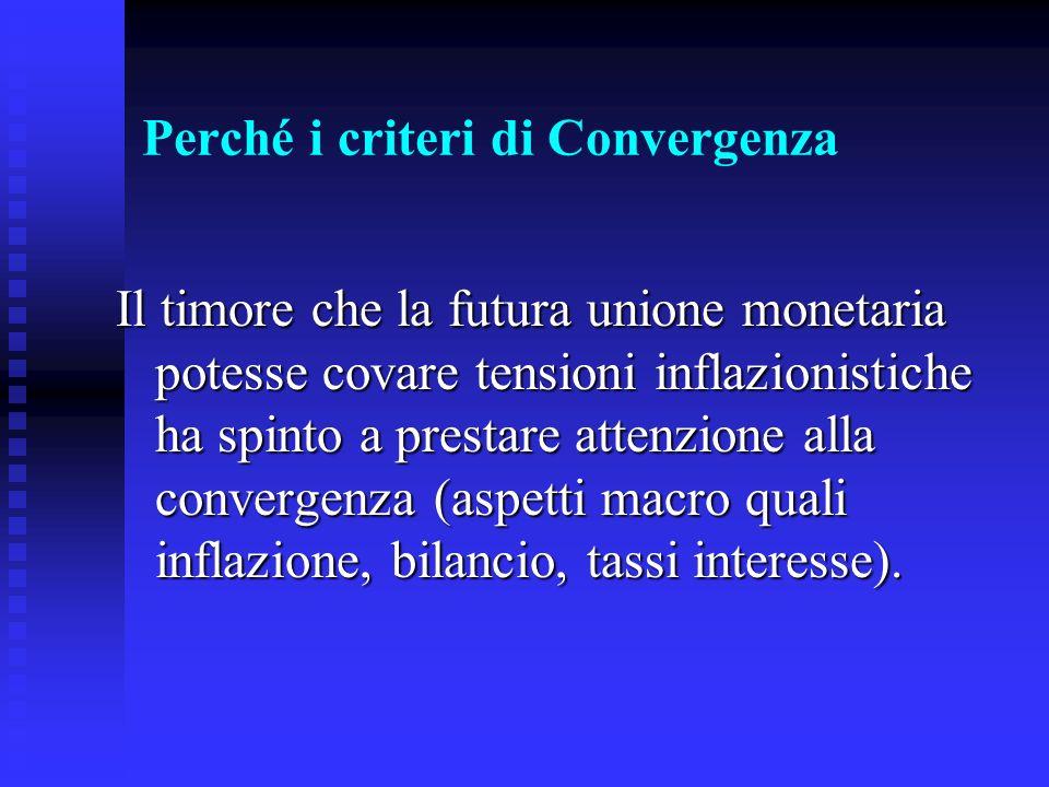 Perché i criteri di Convergenza