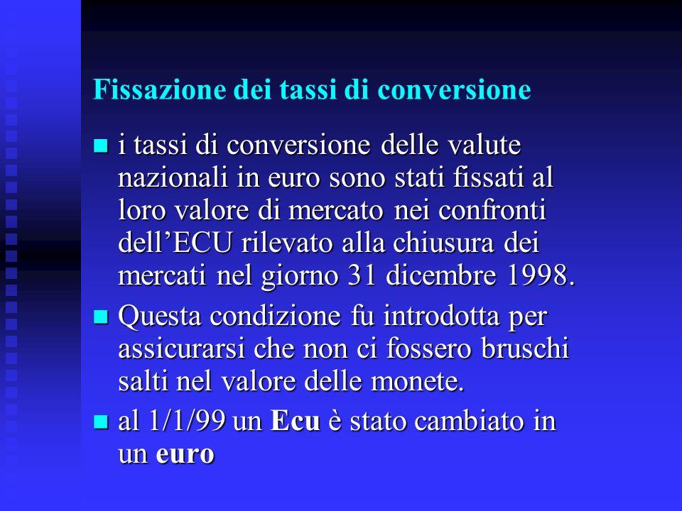 Fissazione dei tassi di conversione