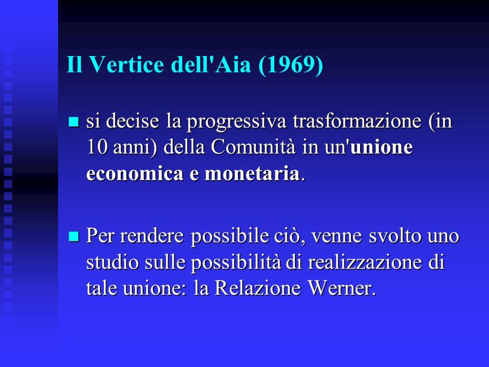 Il Vertice dell Aia (1969) si decise la progressiva trasformazione (in 10 anni) della Comunità in un unione economica e monetaria.