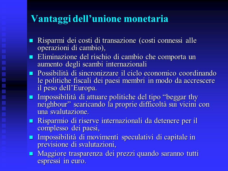 Vantaggi dell'unione monetaria