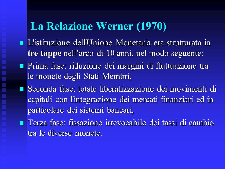 La Relazione Werner (1970) L istituzione dell Unione Monetaria era strutturata in tre tappe nell'arco di 10 anni, nel modo seguente: