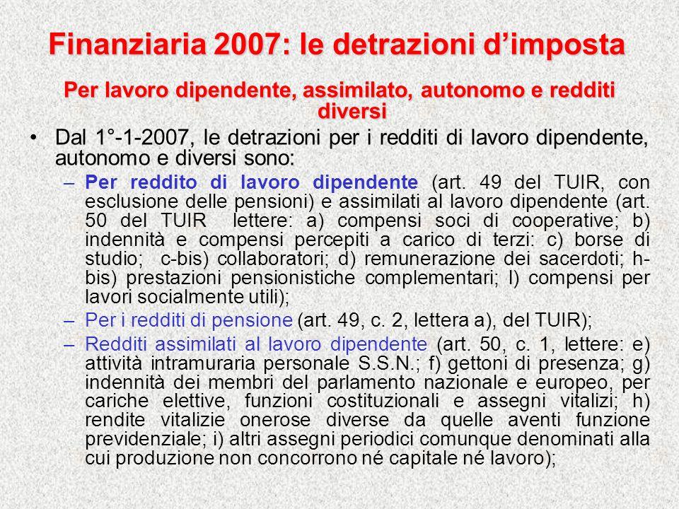 Finanziaria 2007: le detrazioni d'imposta