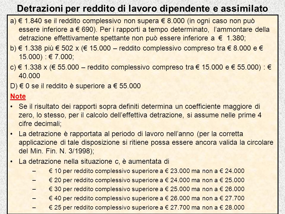Detrazioni per reddito di lavoro dipendente e assimilato