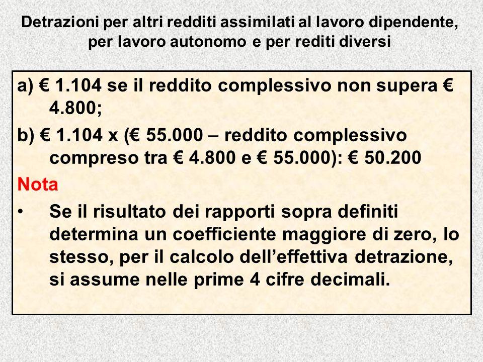 a) € 1.104 se il reddito complessivo non supera € 4.800;