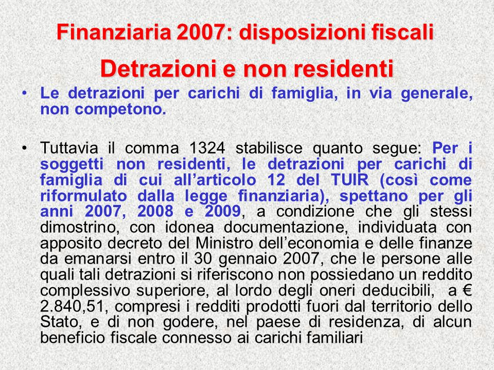 Finanziaria 2007: disposizioni fiscali