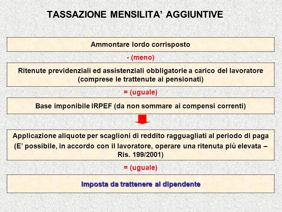 TASSAZIONE MENSILITA' AGGIUNTIVE