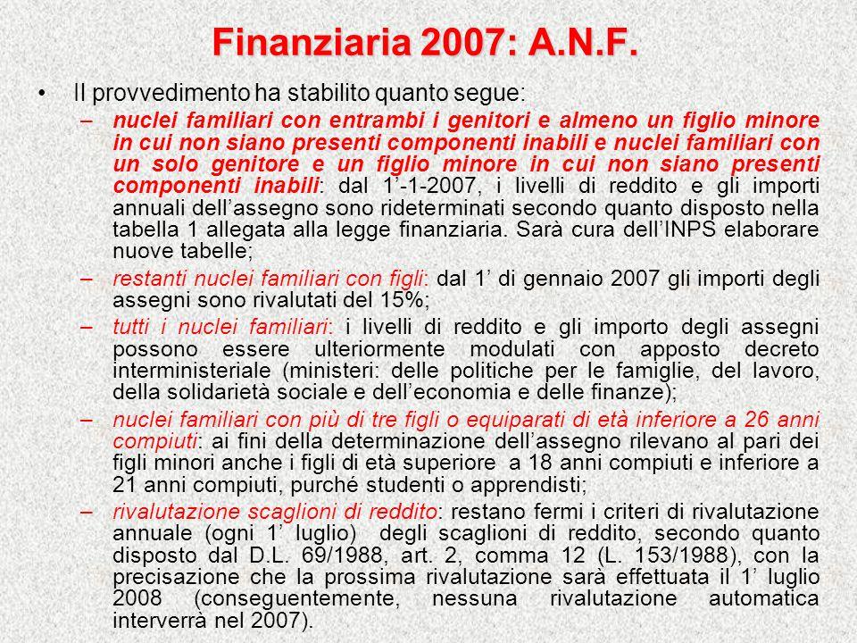 Finanziaria 2007: A.N.F. Il provvedimento ha stabilito quanto segue: