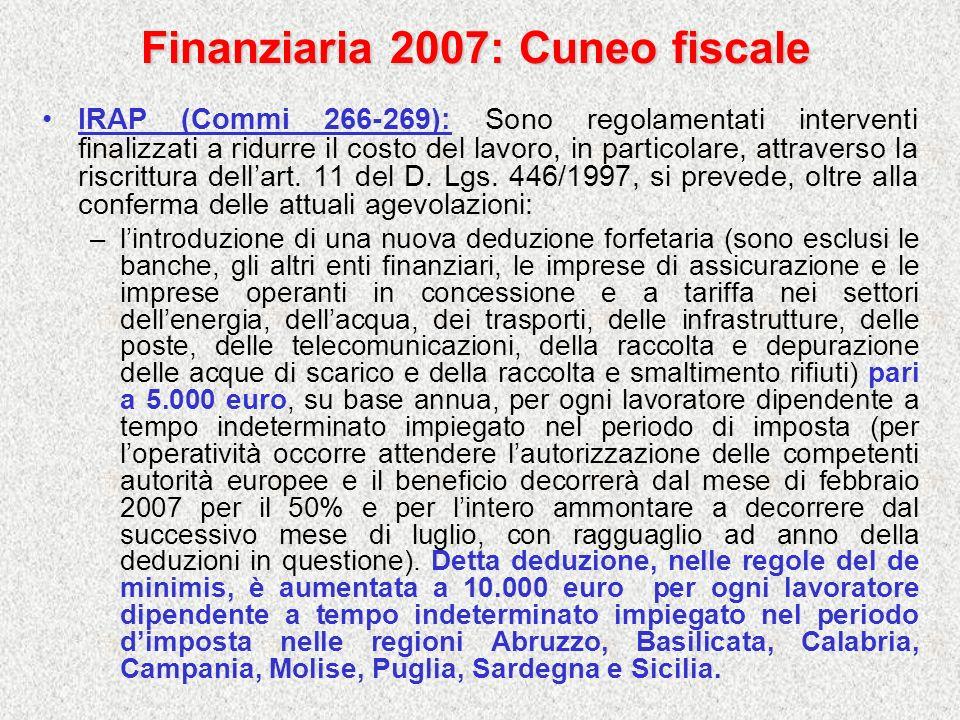 Finanziaria 2007: Cuneo fiscale
