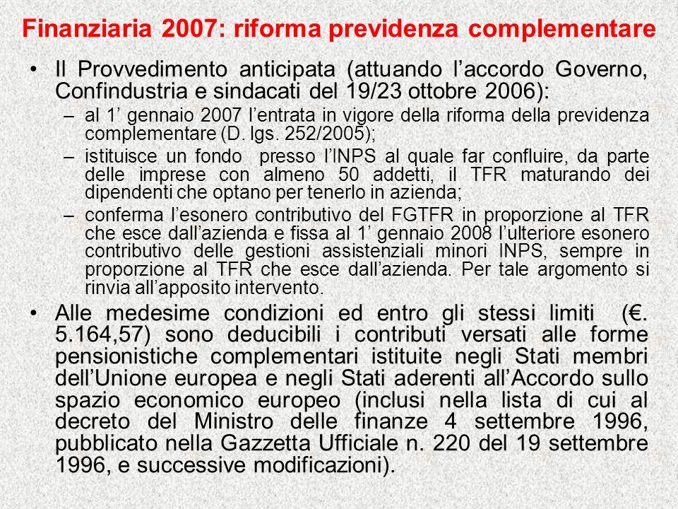 Finanziaria 2007: riforma previdenza complementare