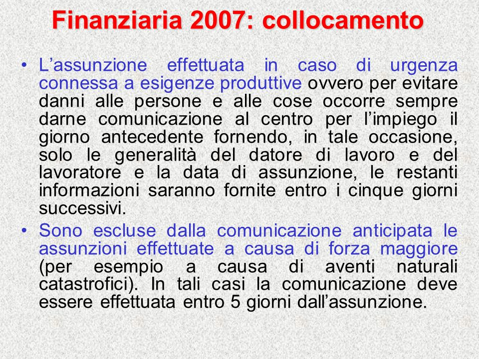 Finanziaria 2007: collocamento