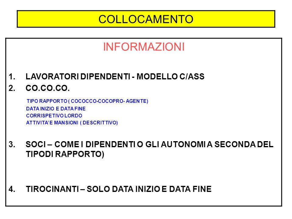 COLLOCAMENTO INFORMAZIONI LAVORATORI DIPENDENTI - MODELLO C/ASS