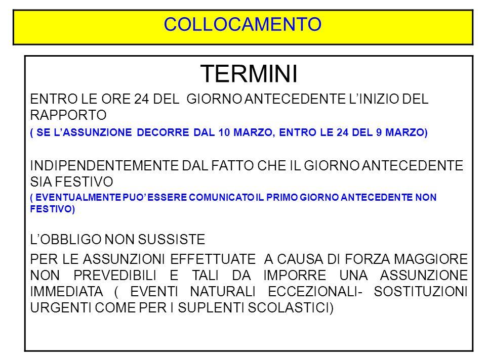 COLLOCAMENTO TERMINI. ENTRO LE ORE 24 DEL GIORNO ANTECEDENTE L'INIZIO DEL RAPPORTO.