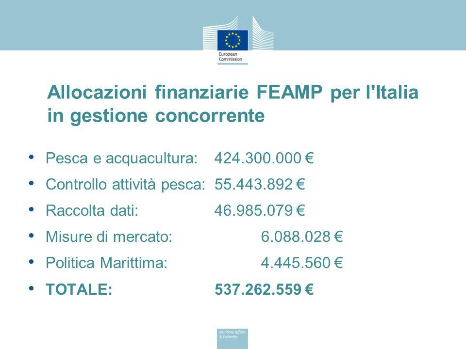 Allocazioni finanziarie FEAMP per l Italia in gestione concorrente