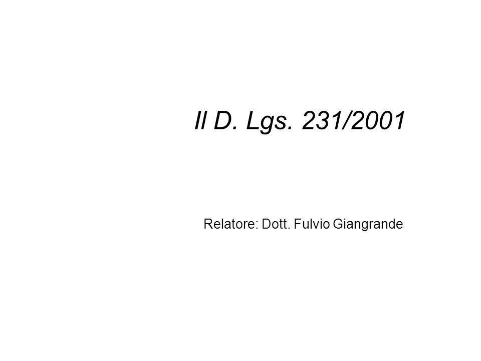 Relatore: Dott. Fulvio Giangrande