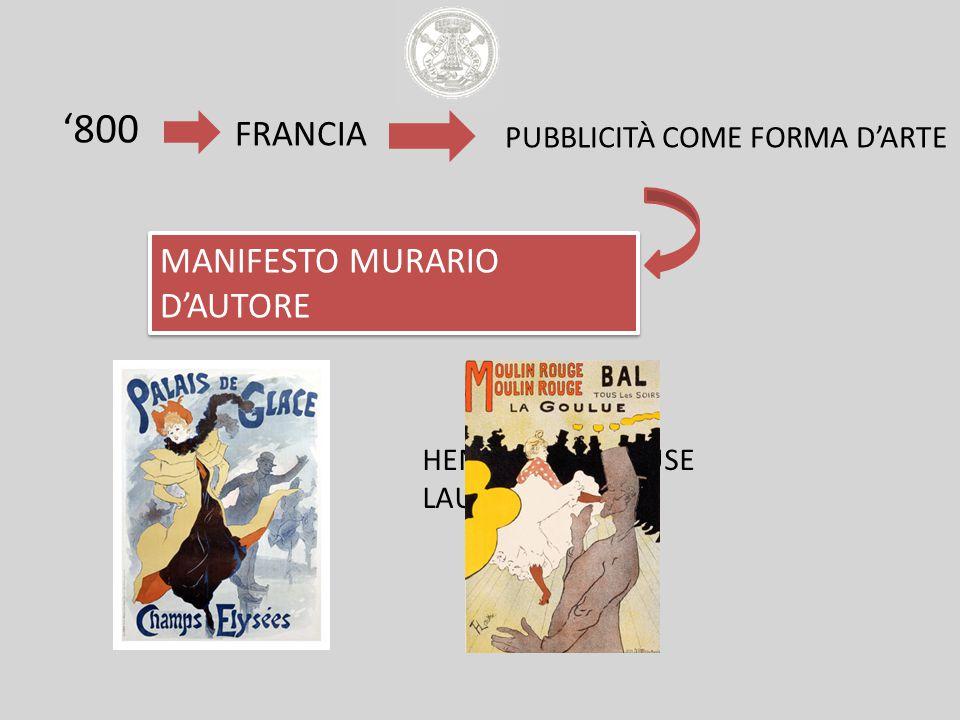 '800 MANIFESTO MURARIO D'AUTORE FRANCIA PUBBLICITÀ COME FORMA D'ARTE