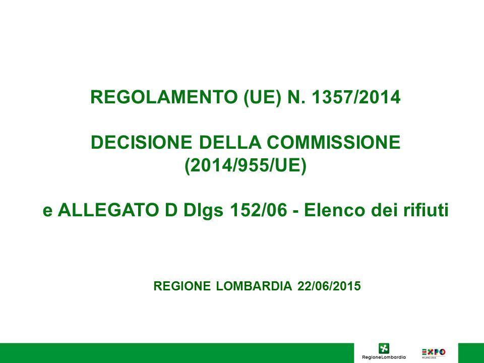 REGOLAMENTO (UE) N. 1357/2014 DECISIONE DELLA COMMISSIONE (2014/955/UE) e ALLEGATO D Dlgs 152/06 - Elenco dei rifiuti