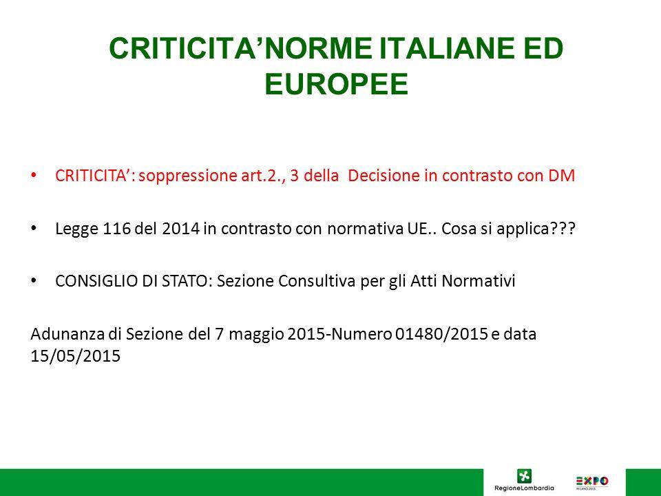 CRITICITA'NORME ITALIANE ED EUROPEE