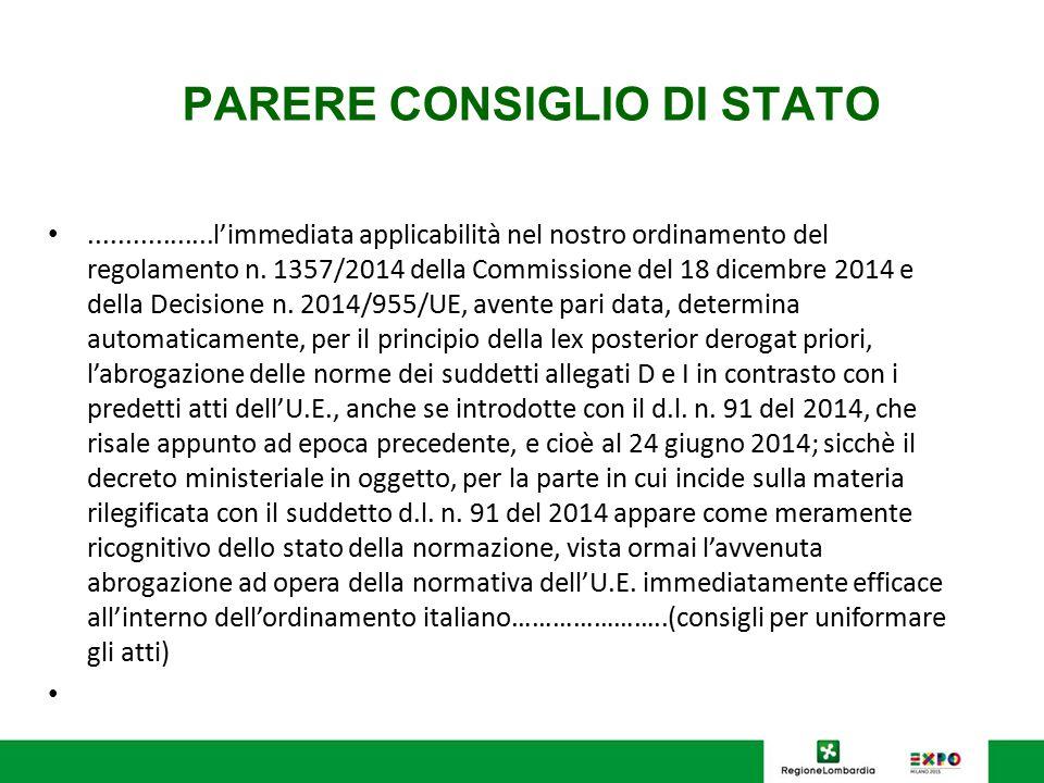 PARERE CONSIGLIO DI STATO