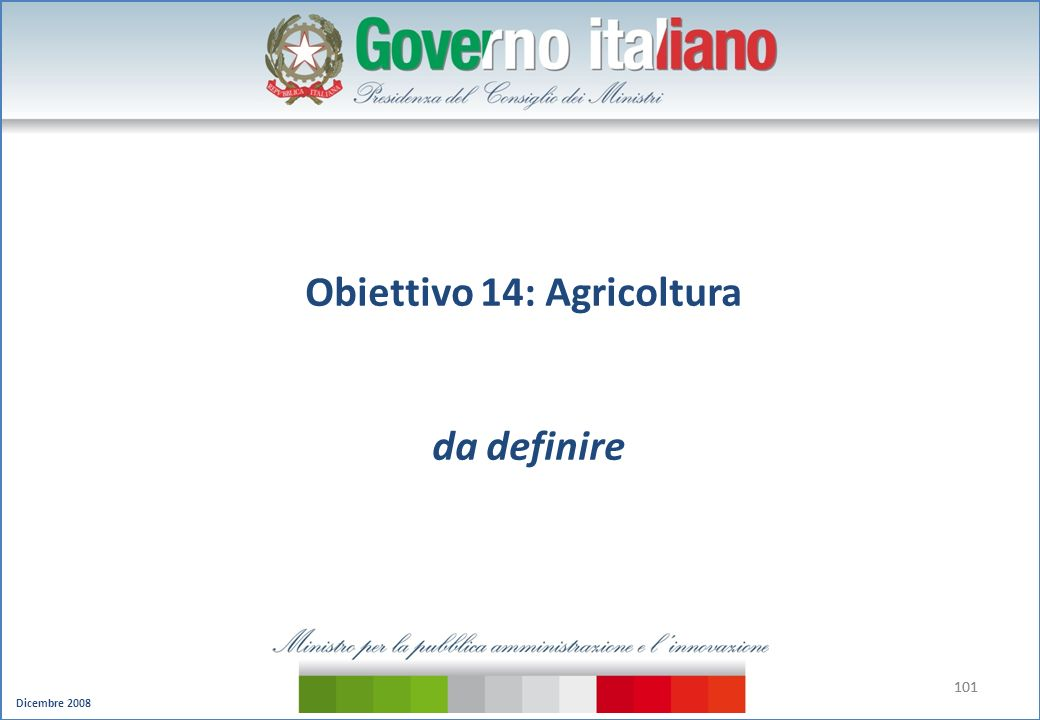 Obiettivo 14: Agricoltura da definire