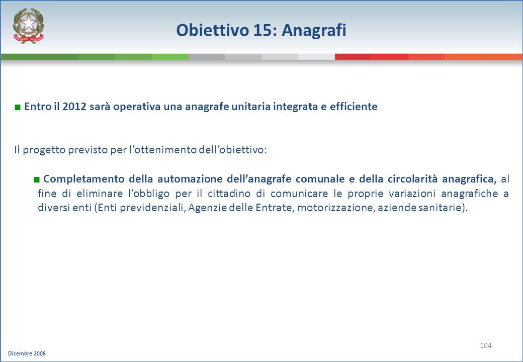 Obiettivo 15: Anagrafi Entro il 2012 sarà operativa una anagrafe unitaria integrata e efficiente.
