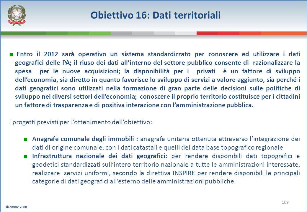 Obiettivo 16: Dati territoriali