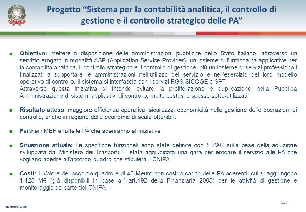 Progetto Sistema per la contabilità analitica, il controllo di gestione e il controllo strategico delle PA