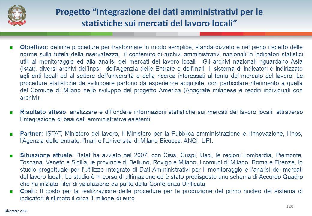 Progetto Integrazione dei dati amministrativi per le statistiche sui mercati del lavoro locali