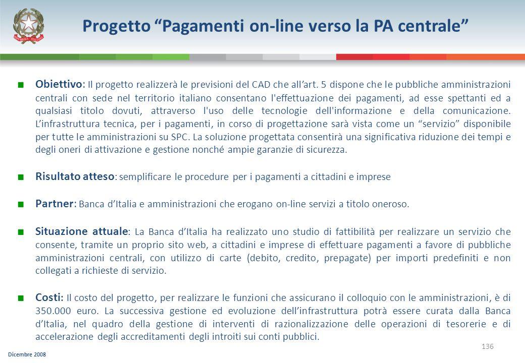 Progetto Pagamenti on-line verso la PA centrale