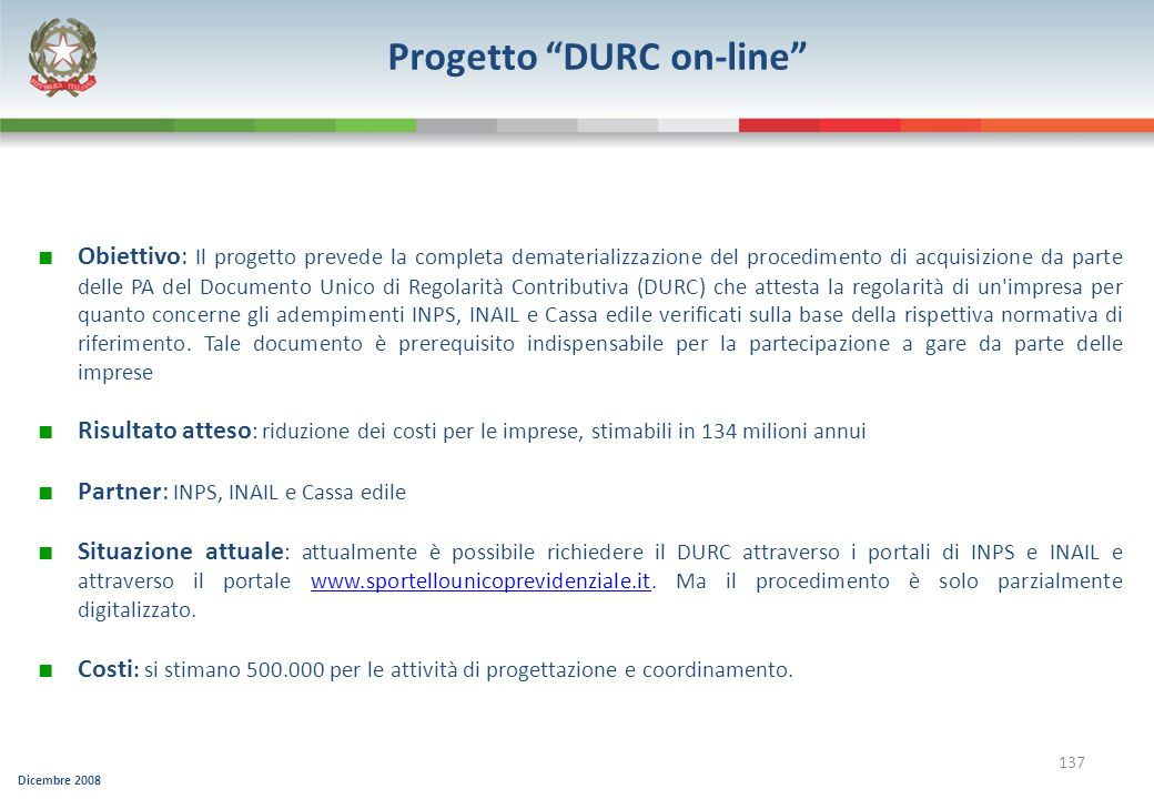 Progetto DURC on-line
