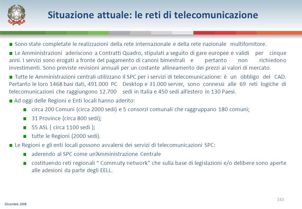 Situazione attuale: le reti di telecomunicazione