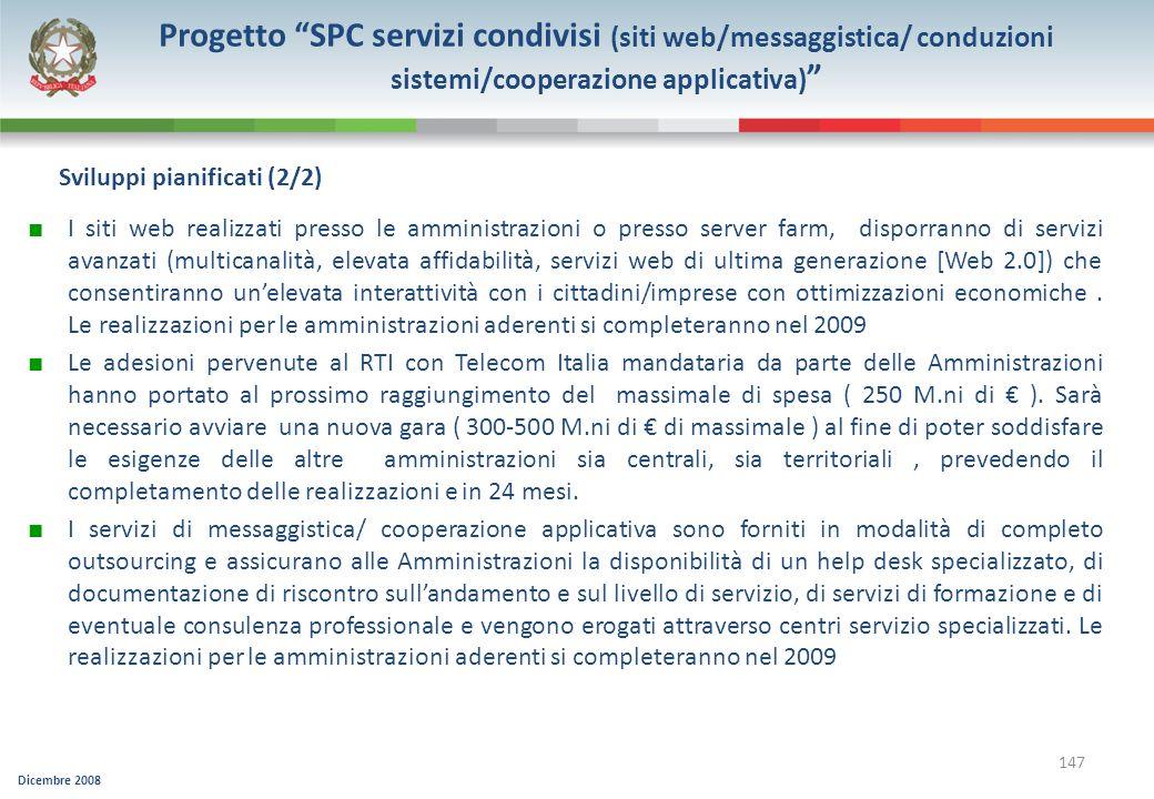 Progetto SPC servizi condivisi (siti web/messaggistica/ conduzioni sistemi/cooperazione applicativa)