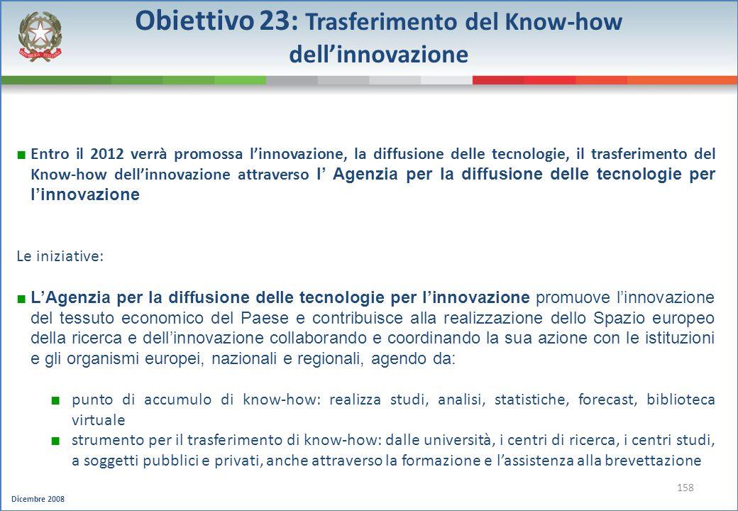 Obiettivo 23: Trasferimento del Know-how dell'innovazione