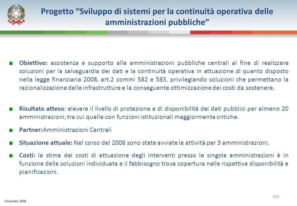 Progetto Sviluppo di sistemi per la continuità operativa delle amministrazioni pubbliche