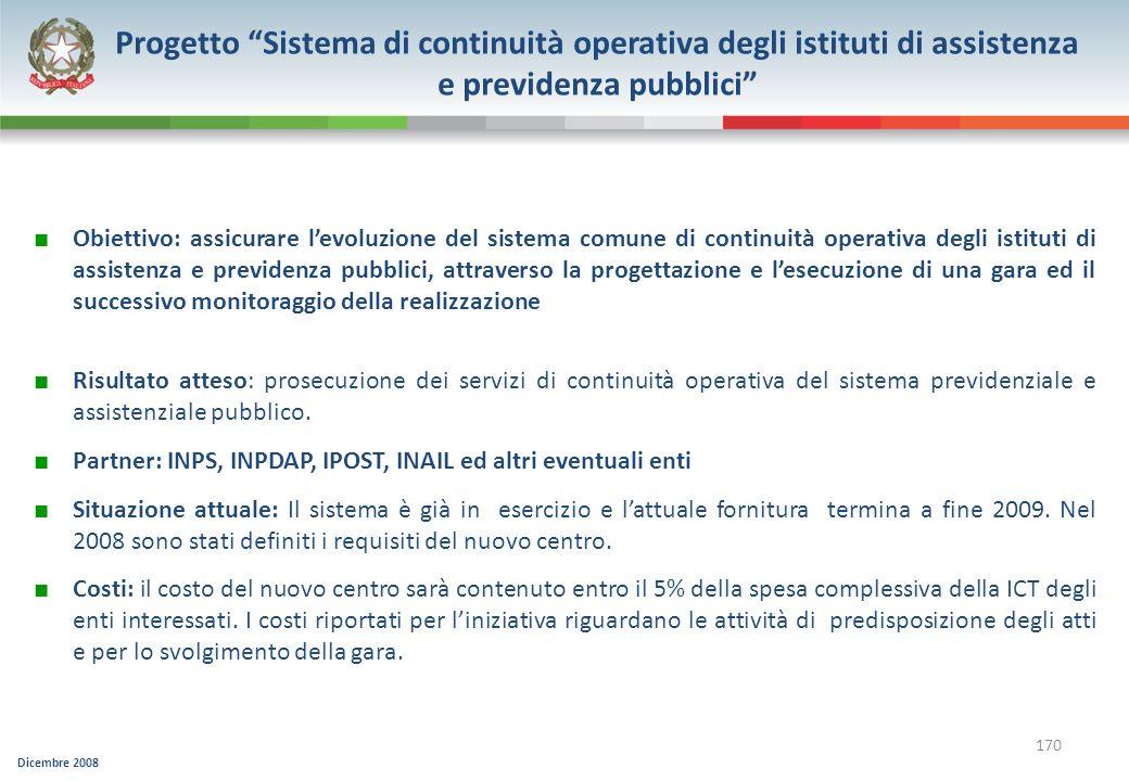 Progetto Sistema di continuità operativa degli istituti di assistenza e previdenza pubblici
