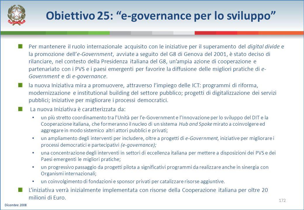 Obiettivo 25: e-governance per lo sviluppo
