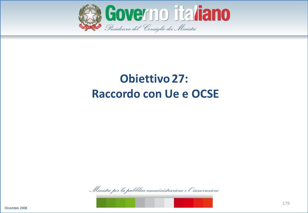 Obiettivo 27: Raccordo con Ue e OCSE