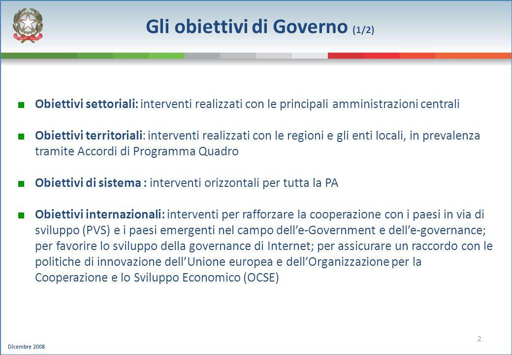 Gli obiettivi di Governo (1/2)