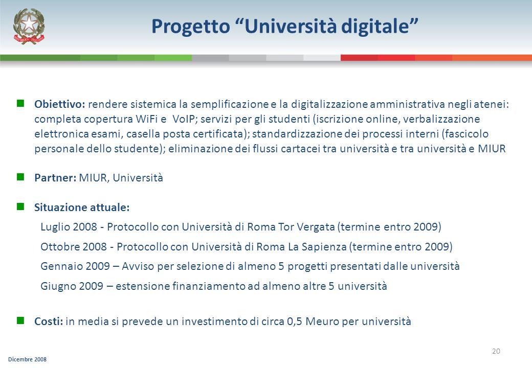 Progetto Università digitale