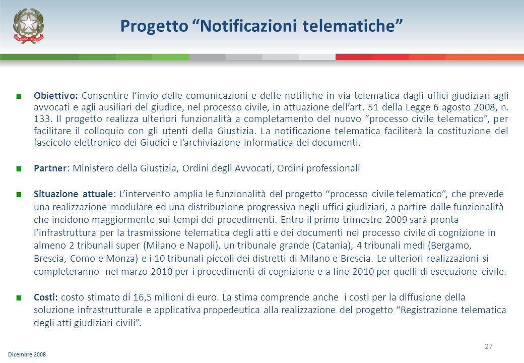 Progetto Notificazioni telematiche