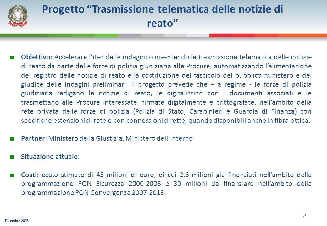 Progetto Trasmissione telematica delle notizie di reato